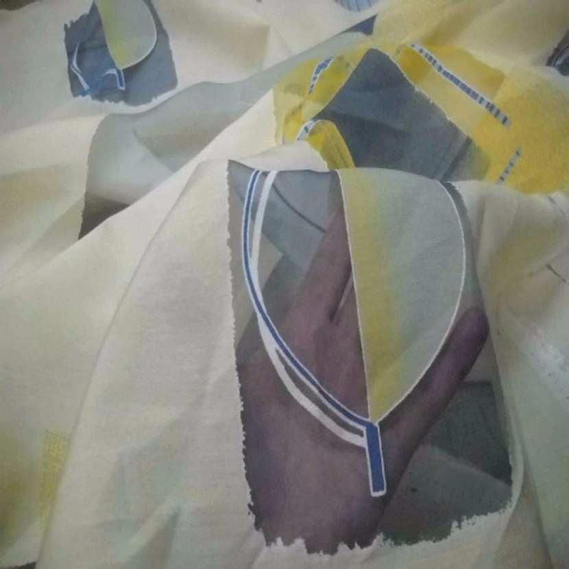 Tissu beige bleu devore8