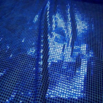 Tissu bleu a paillettes ronde bleu