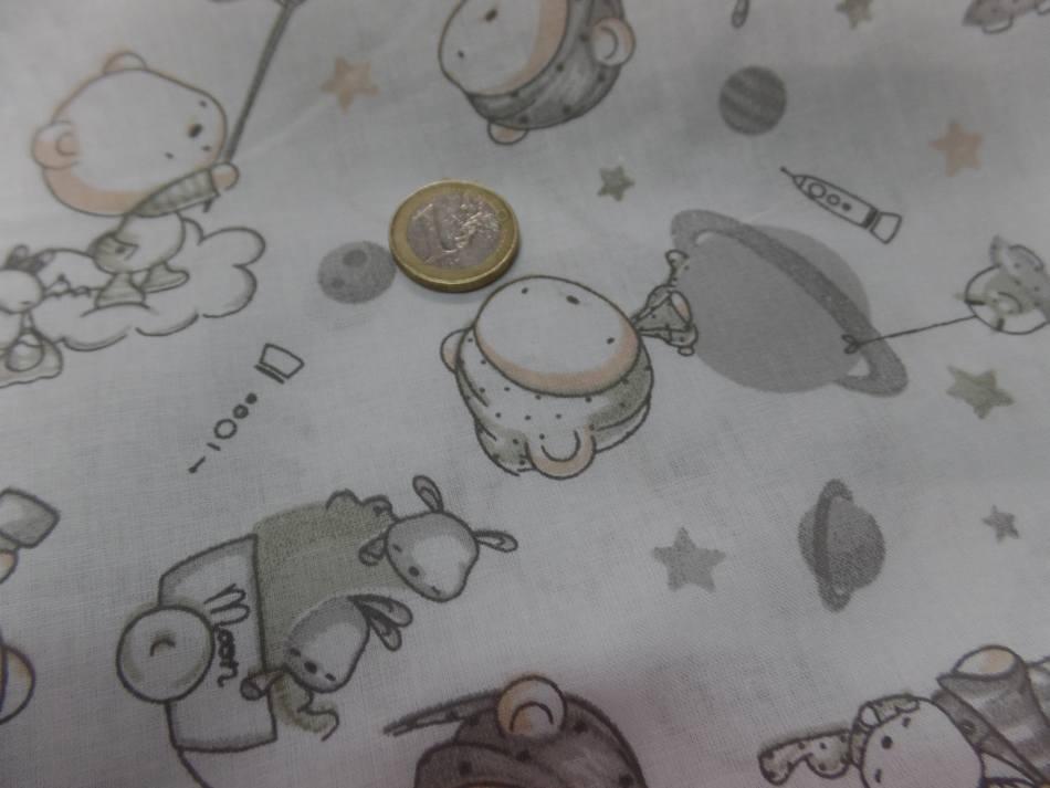 Tissu coton blanc imprime enfant ton gris8