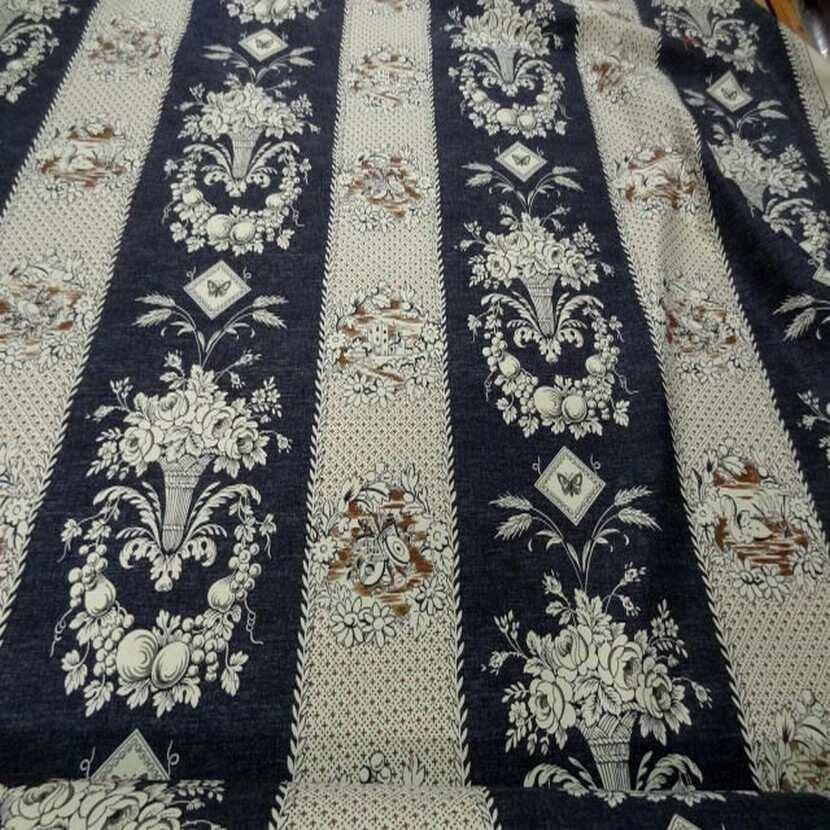 tissu coton d ameublement écrue bleu foncé