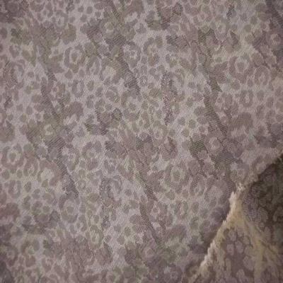 Tissu coton damasse ton beige gris