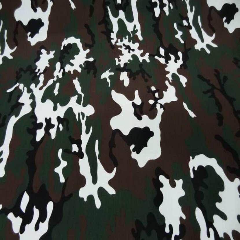 tissu coton imprimé armée camouflage ton marron vert et blanc
