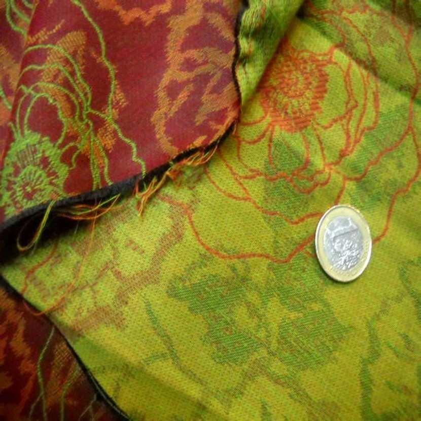 Tissu coton melange ton anis bordeaux02