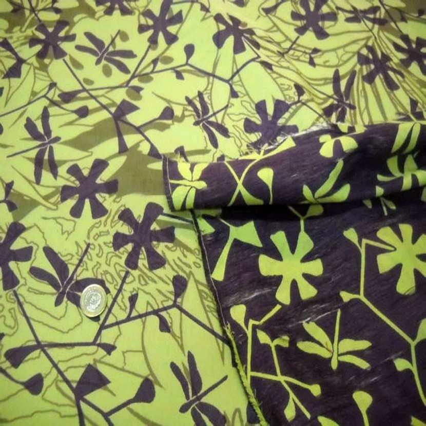 Tissu coton melange ton anis violet
