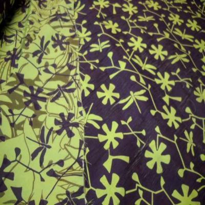 Tissu coton melange ton anis violet1