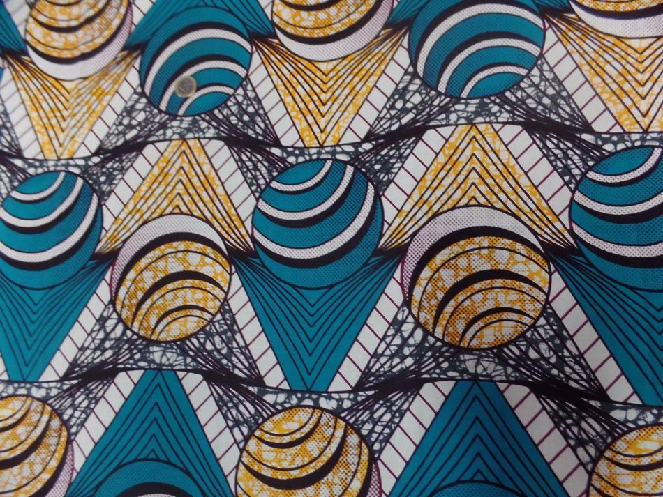 Tissu coton wax motifs africain ton blanc bleu jaune3