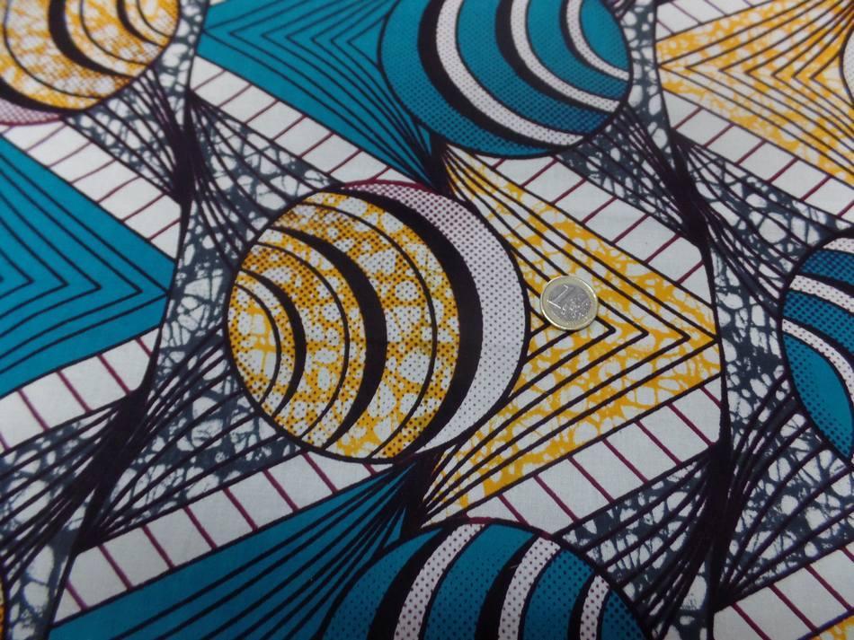 tissu coton Wax motifs Africain ton blanc ,bleu ,jaune