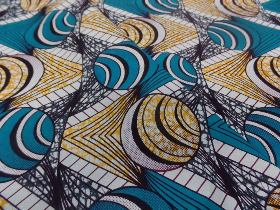 vente de tissu coton Wax motifs Africain ton blanc ,bleu ,jaune