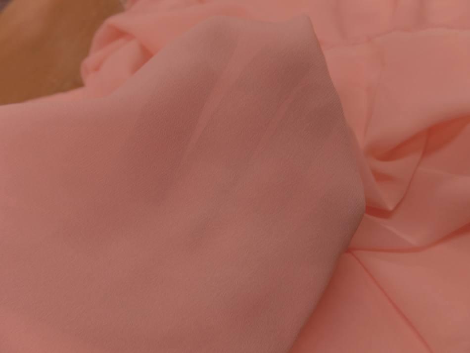 Tissu coupon de crepe de soie fin ton rose clair 2 90m