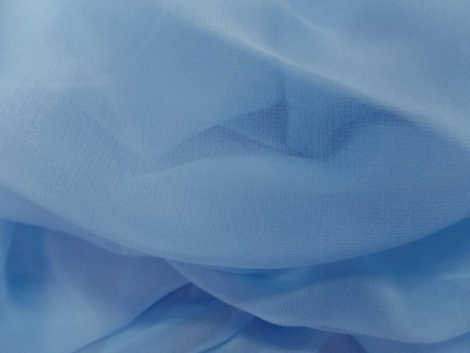 Tissu coupon de mousseline de soie bleu ciel5