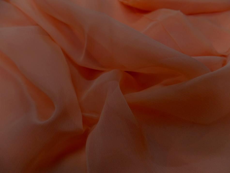 Tissu coupon de mousseline de soie saumon en ligne