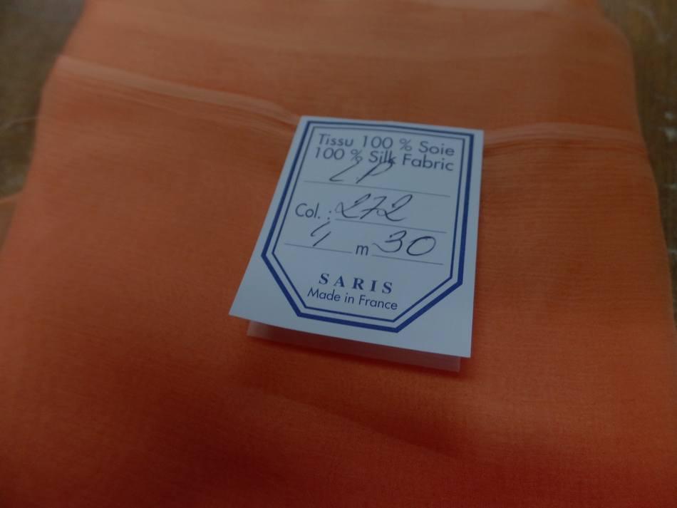 tissu coupon de mousseline de soie saumon pas cher