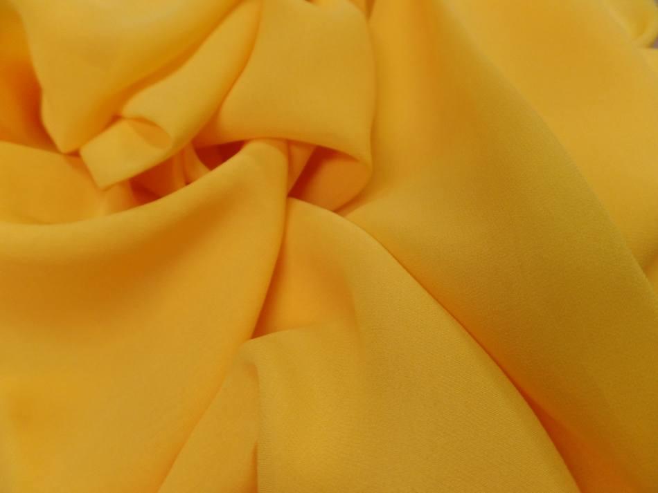 Tissu crepe de soie tres fin ton jaune soleil en ligne