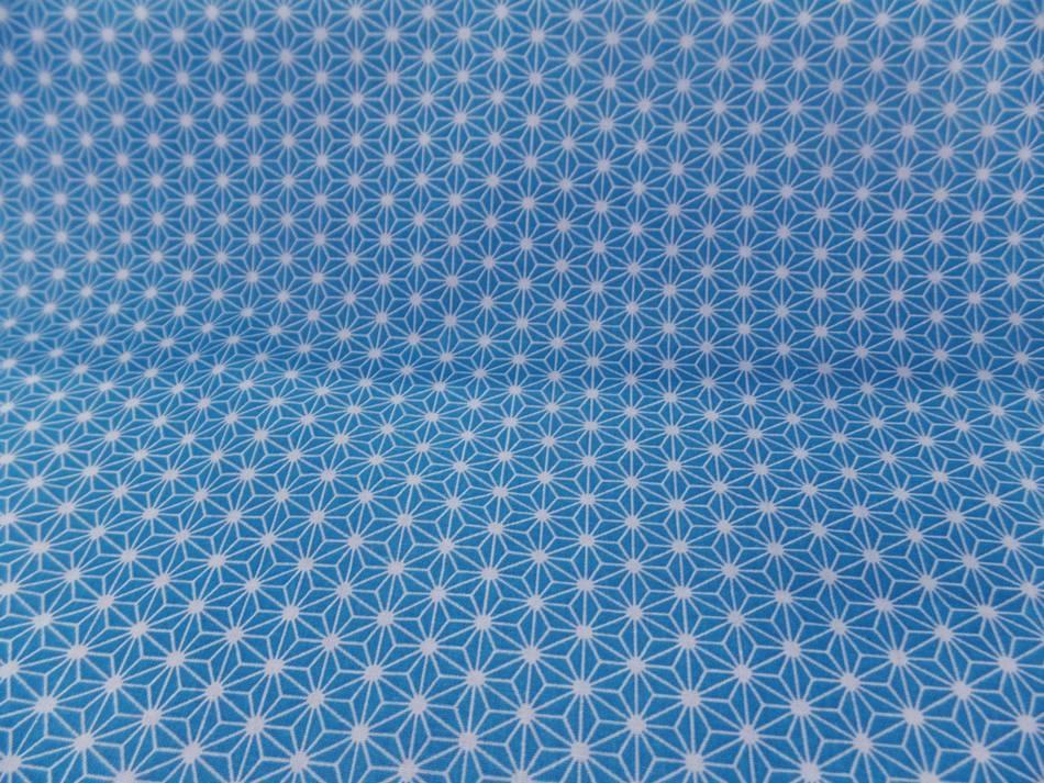 Tissu cretonne imprime geometrique bleu et blanc8