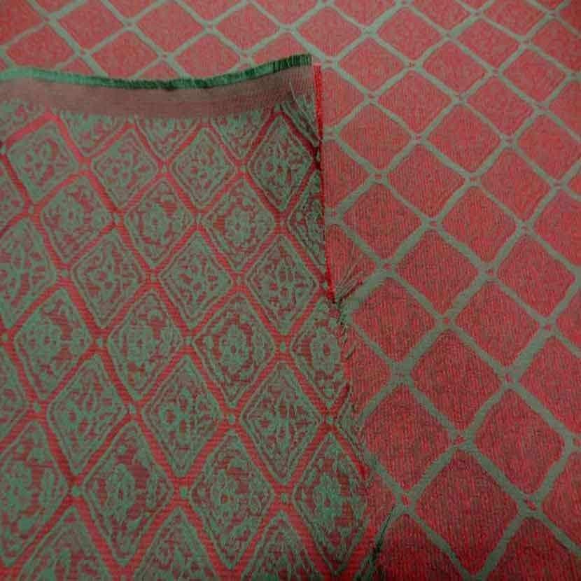 Tissu d ameublement faconne brique vert
