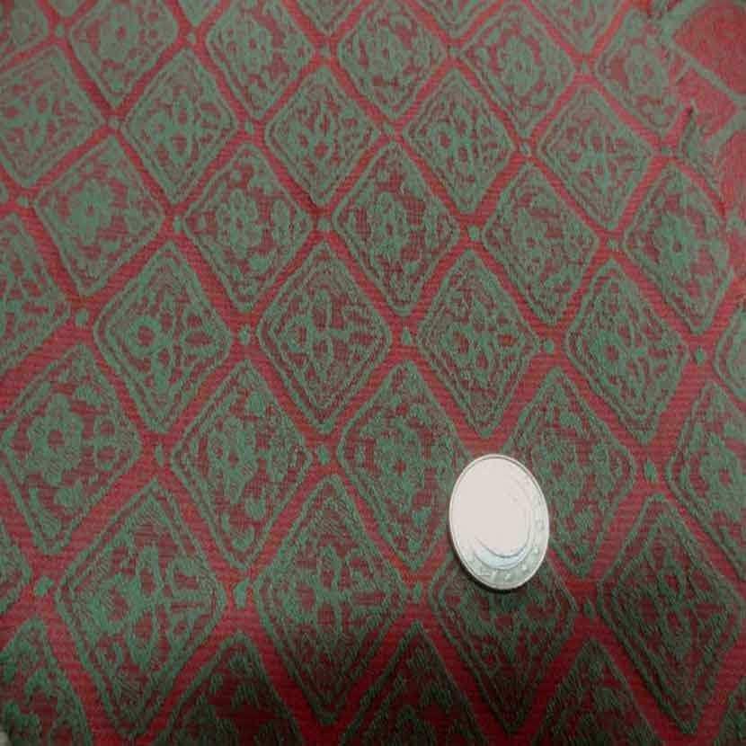 Tissu d ameublement faconne brique vert1