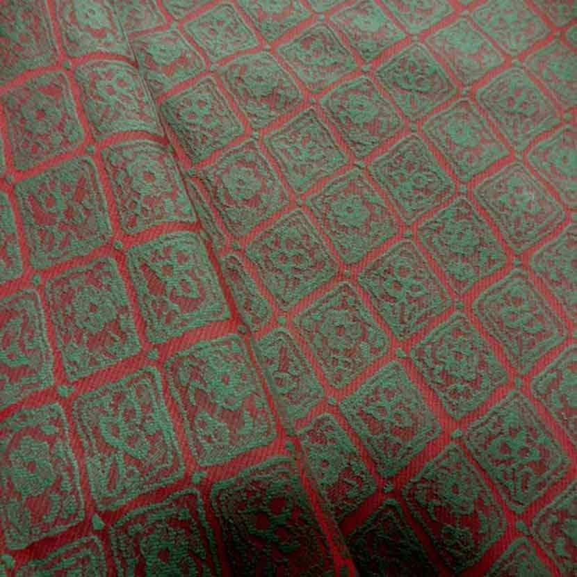 Tissu d ameublement faconne brique vert4