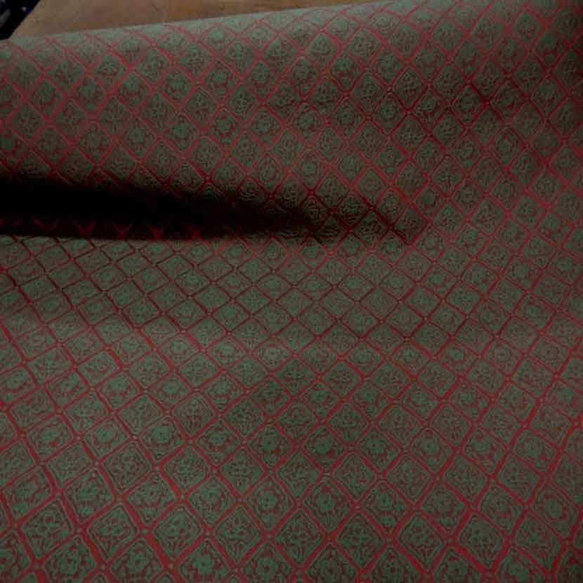 Tissu d ameublement faconne brique vert94
