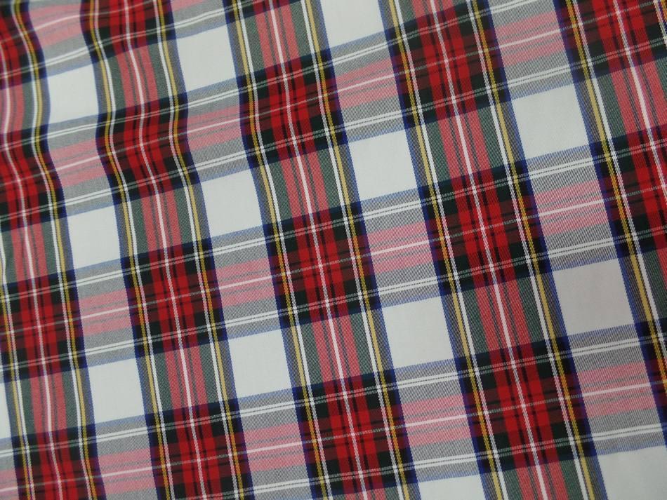Tissu ecossais blanc vert bleu rouge01