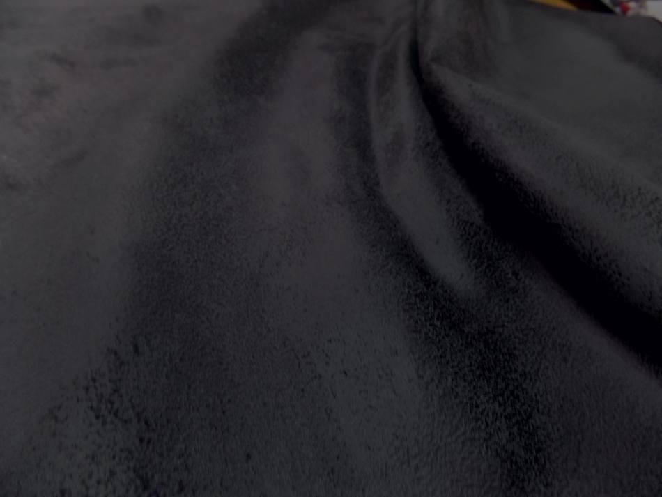 Tissu imitation vieux cuir ton gris fonce