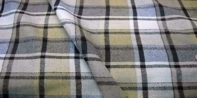 Tissu laine 100 a carreaux ton beige