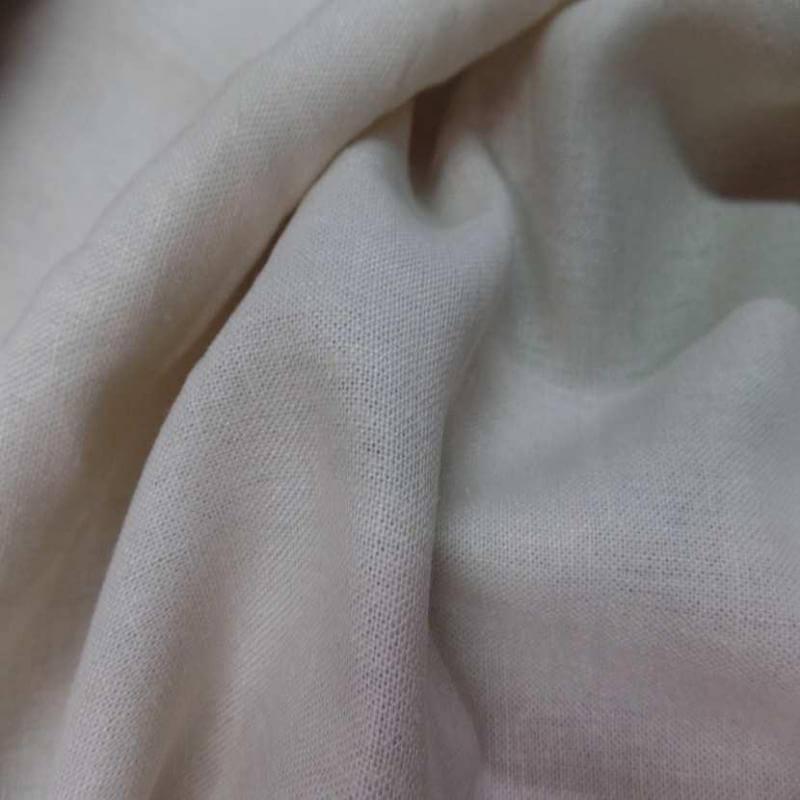 tissu lin coton blanc casse beige très clair