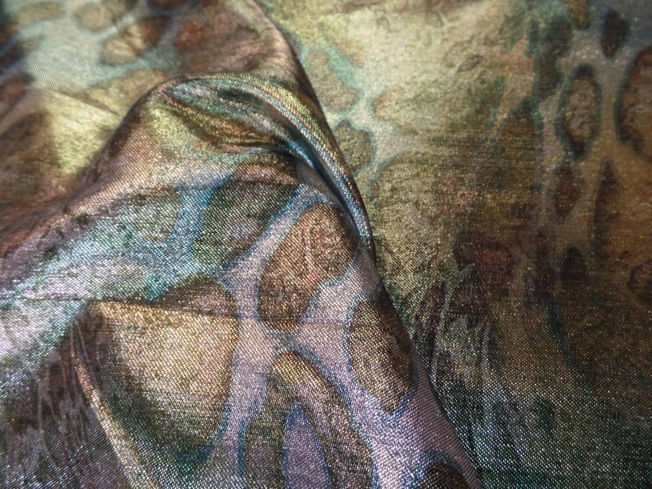 achat Tissu lurex motifs serpent ton kaki doré métal