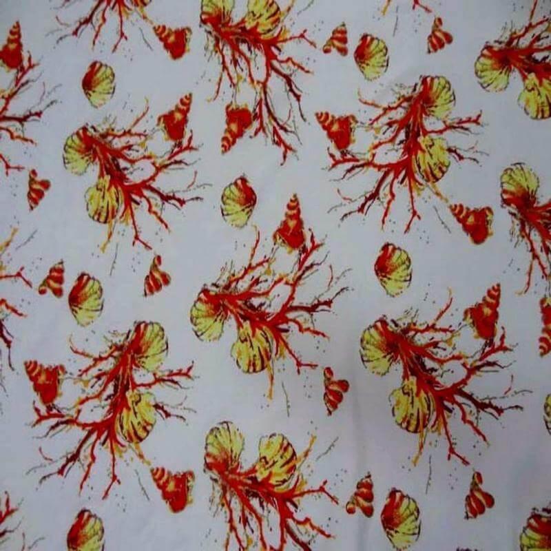 tissu lycra blanc imprimé coquillage rouge lurex doré