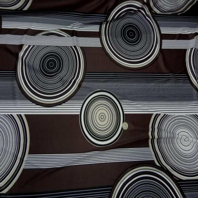 tissu lycra imprimé année 70 ton marron blanc