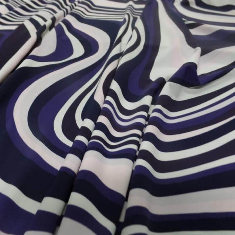 tissu maillot de bain lycra maillot de bain imprimé année 70 ton blanc violet rose et noir