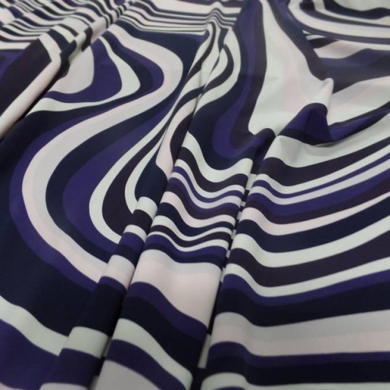 Tissu maillot de bain lycra imprimé annee 70 ton blanc violet rose et noir