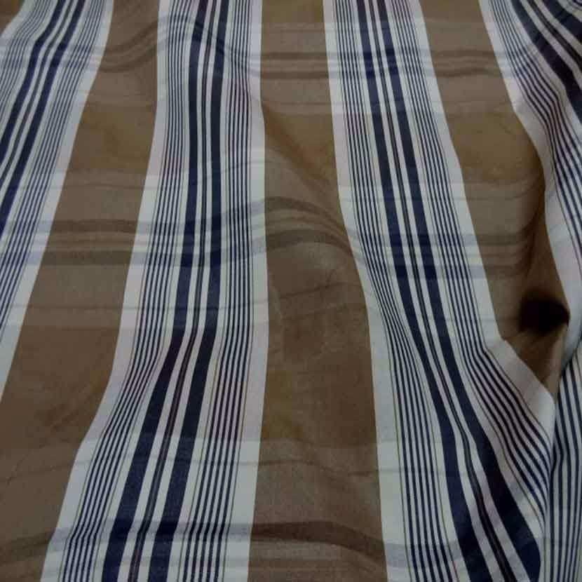 Tissu ottoman beige taupe a rayures blanc bleu marine1