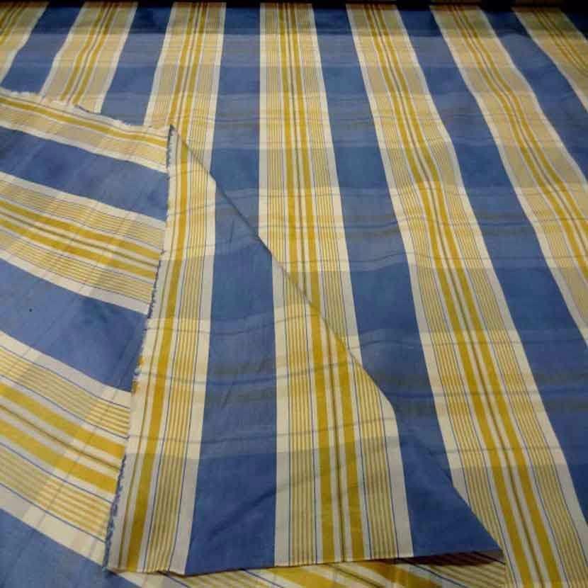 Tissu ottoman bleu a rayures blanc dore