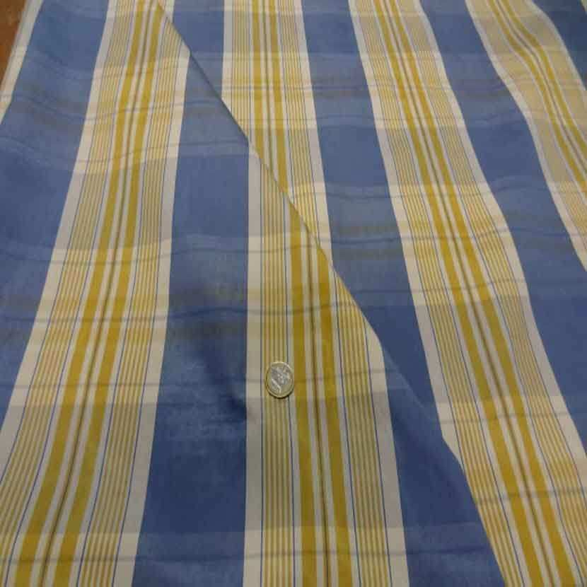 Tissu ottoman bleu a rayures blanc dore1