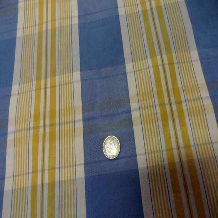Tissu ottoman bleu a rayures blanc dore2