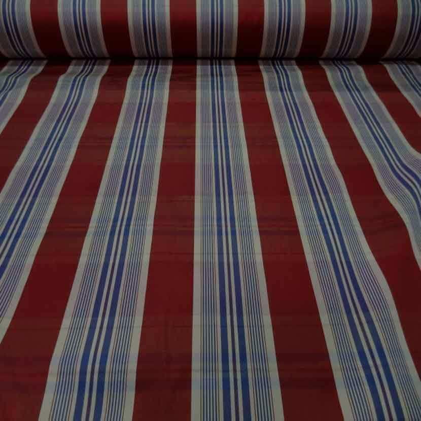 Tissu ottoman bordeaux a rayures blanc bleu
