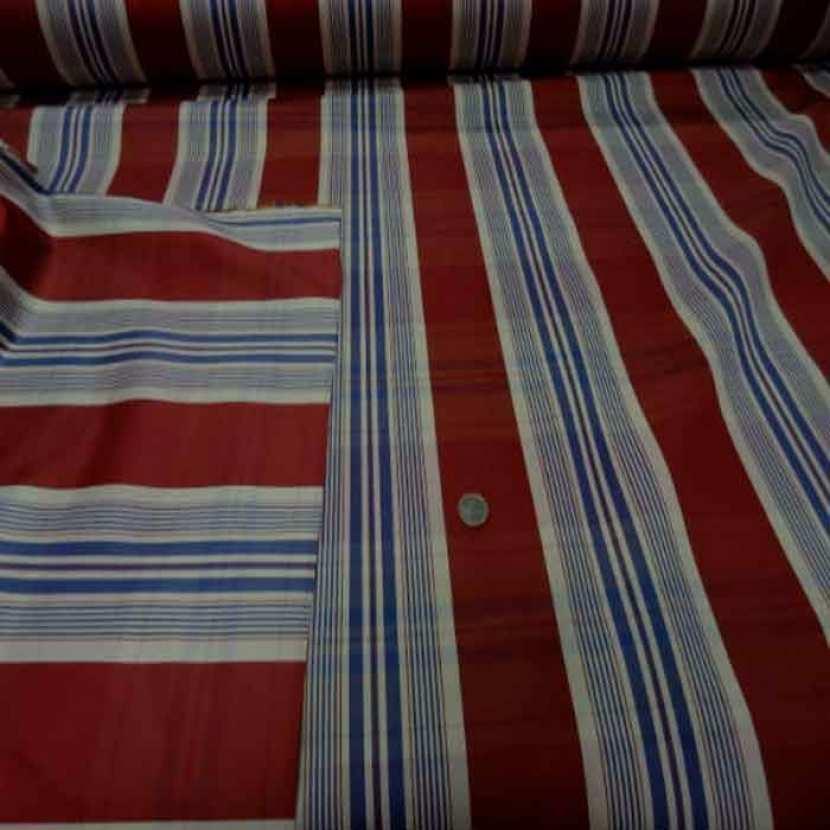 Tissu ottoman bordeaux a rayures blanc bleu2