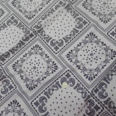Tissu popeline coton 100% imprimé bandana blanc et noir