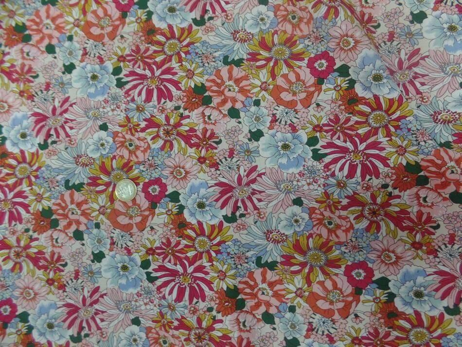 Tissu popeline coton 100% imprime fleurs ton rouge orange bleu