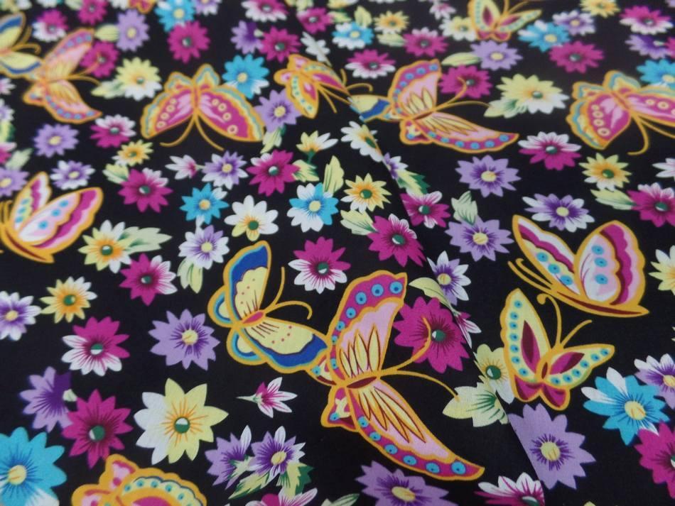 tissu popeline coton 100% noire imprimé papillon ton jaune ,rose ,bleu