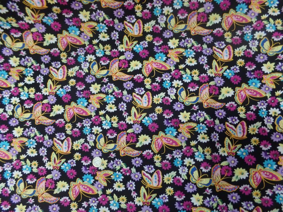 tissu popeline coton 100% noire imprimé papillon ton jaune ,rose ,bleu vente sur Marseille
