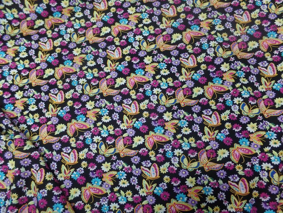 vente de tissu popeline coton 100% noire imprimé papillon ton jaune ,rose ,bleu