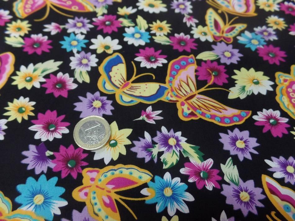 tissu popeline coton 100% noire imprimé papillon ton jaune ,rose ,bleu en ligne