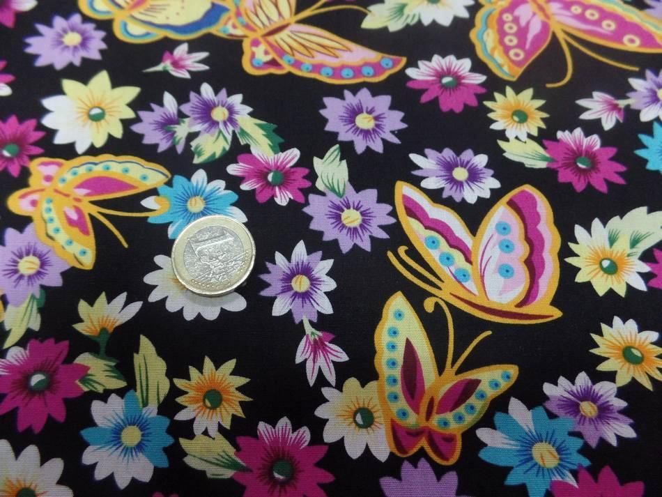 achat tissu popeline coton 100% noire imprimé papillon ton jaune ,rose ,bleu