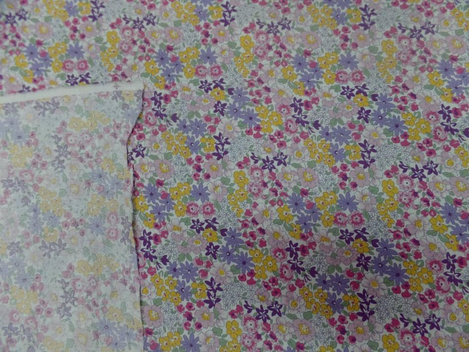 Tissu popeline coton blanche imprime liberty fleurs mauve vert jaune et rose2