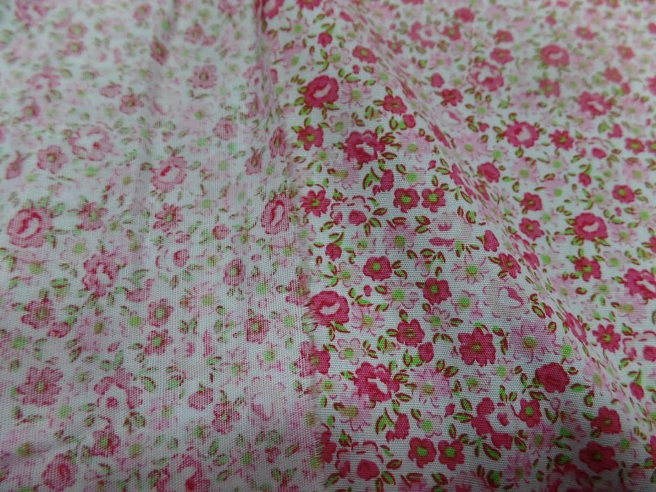 Tissu popeline coton blanche imprime liberty fleurs rose et vert08