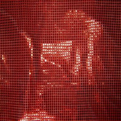 Tissu rouge a paillettes ronde rouge