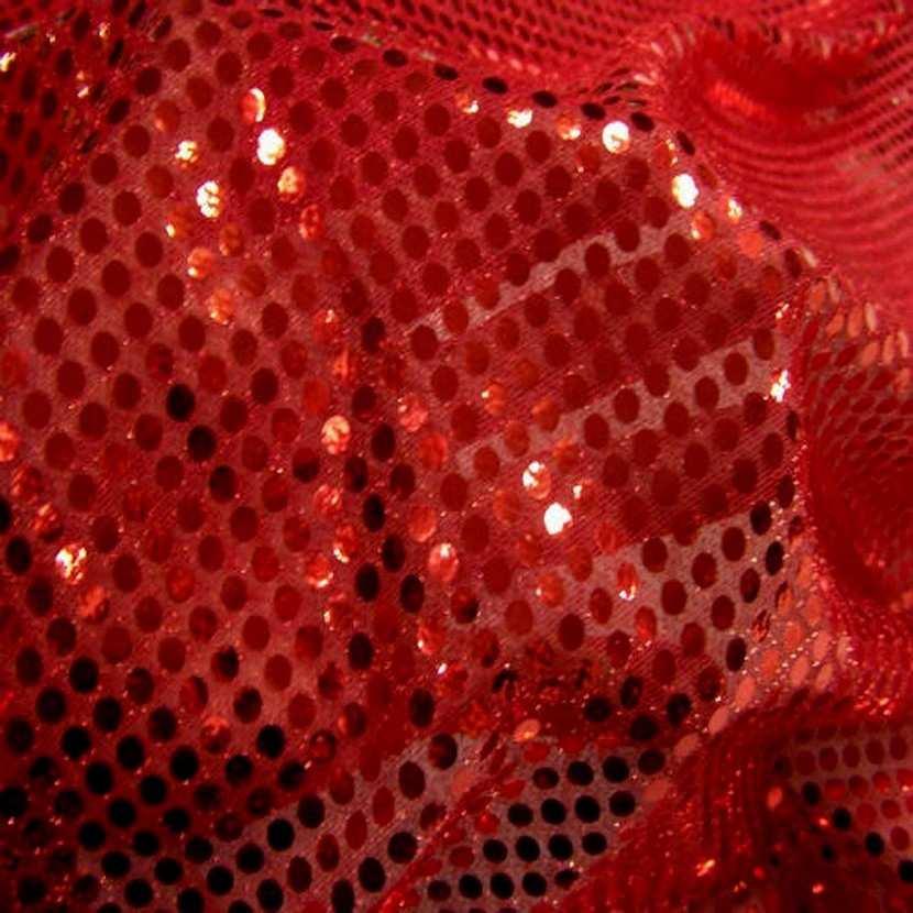 Tissu rouge a paillettes ronde rouge2