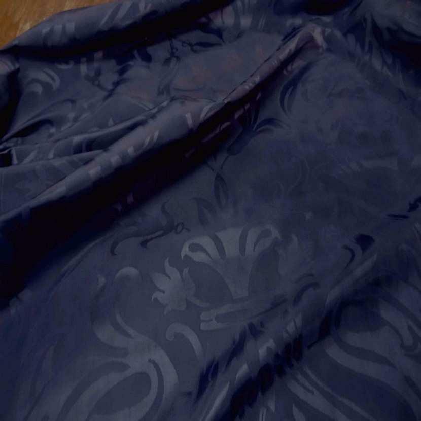 Tissu satin d ameublement faconne ton bleu