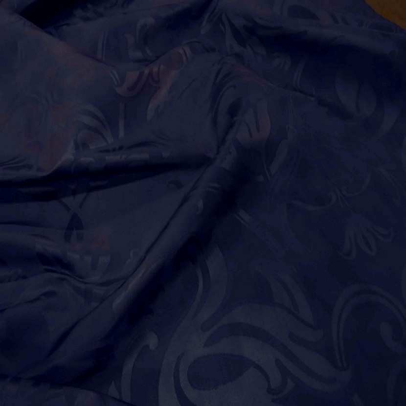Tissu satin d ameublement faconne ton bleu0
